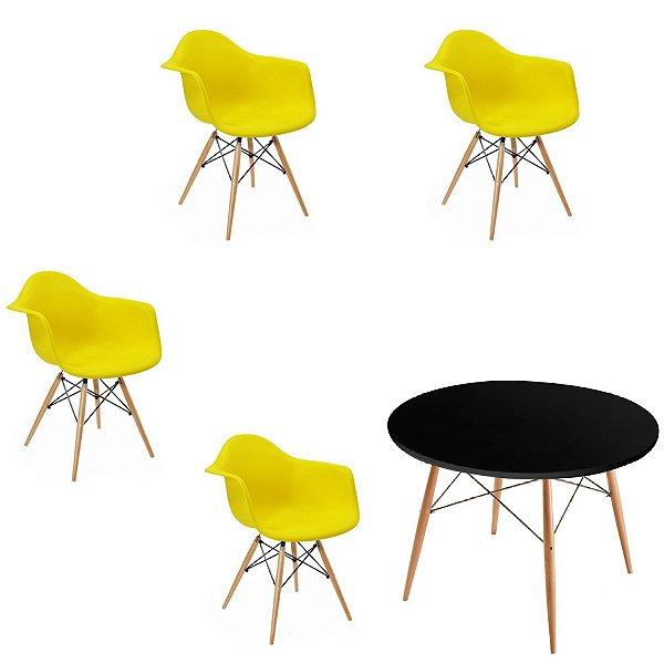 Kit 4x Cadeira Mesa Fratini Design Eames Eiffel DAR Ray Pes Madeira Natural Salas Florida Amarela Preta Braços Polipropileno