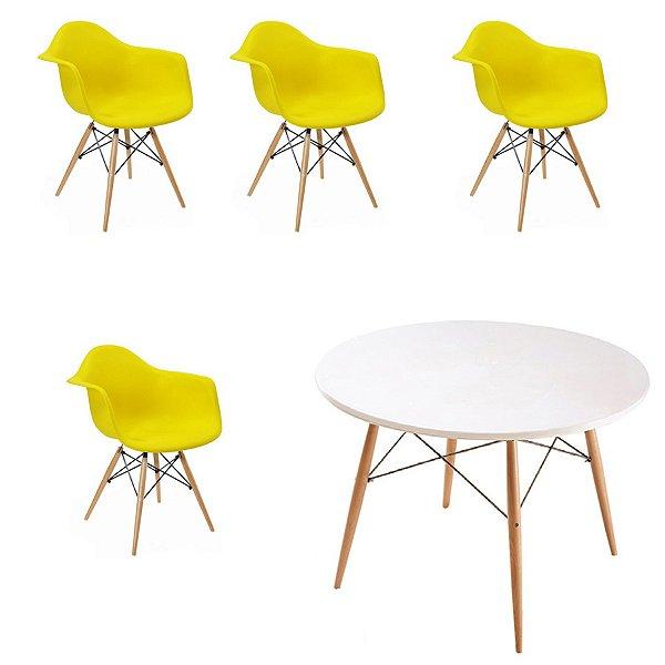 Kit 4x Cadeira Mesa Fratini Design Eames Eiffel DAR Ray Pes Madeira Natural Salas Florida Amarela Branca Braços Polipropileno