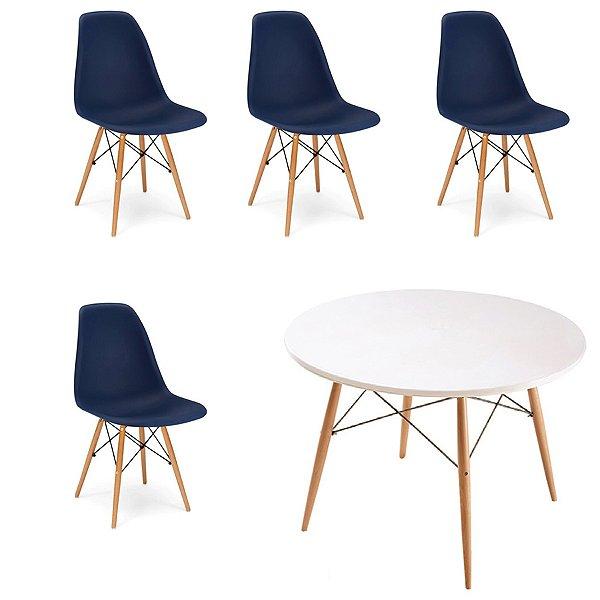 Kit 4x Cadeira Mesa Fratini Design Eames Eiffel DAR Ray Pes Madeira Natural Salas Florida Azul Marinho Branca Assento Polipropileno