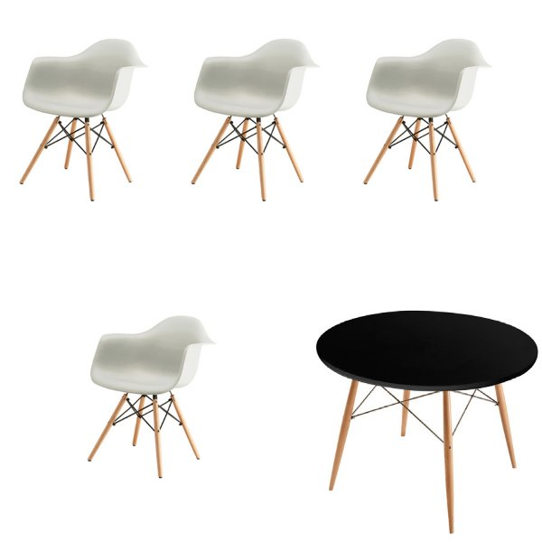 Kit 4x Cadeira Mesa Fratini Design Eames Eiffel DAR Ray Pes Madeira Natural Salas Florida Branca Preta Braços Polipropileno