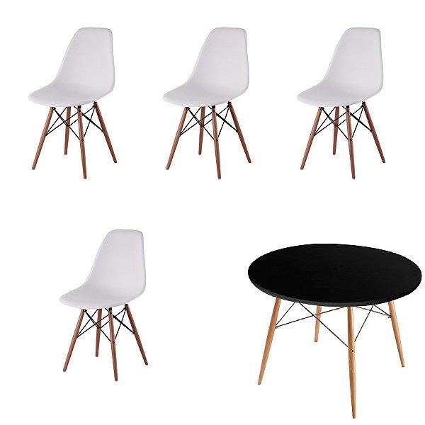 Kit 4x Cadeira Mesa Design Eames Eiffel DAR Ray Pes Madeira Salas Florida Branco  Preta Assento Polipropileno Fratini