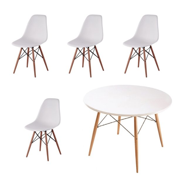 Kit 4x Cadeira Mesa Fratini Design Eames Eiffel DAR Ray Pes Madeira Natural Salas Florida Branco Branca Assento Polipropileno