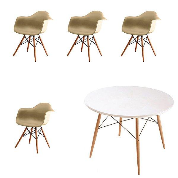 Kit 4x Cadeira Mesa Fratini Design Eames Eiffel DAR Ray Pes Madeira Natural Salas Florida Fendi Branca Braços Polipropileno