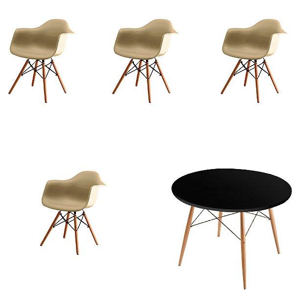 Kit 4x Cadeira Mesa Fratini Design Eames Eiffel DAR Ray Pes Madeira Natural Salas Florida Fendi Preta Braços Polipropileno
