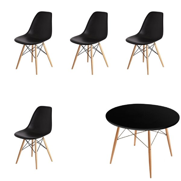 Kit 4x Cadeira Mesa Fratini Design Eames Eiffel DAR Ray Pes Madeira Natural Salas Florida Preta Assento Polipropileno