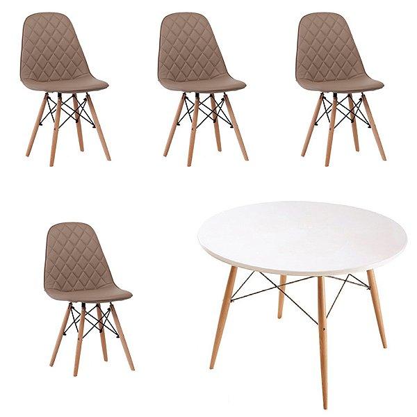 Kit 4x Cadeira Mesa Fratini Design Eames Eiffel DAR Ray Pes Madeira Natural Salas Nice Fendi Branca Assento Polipropileno