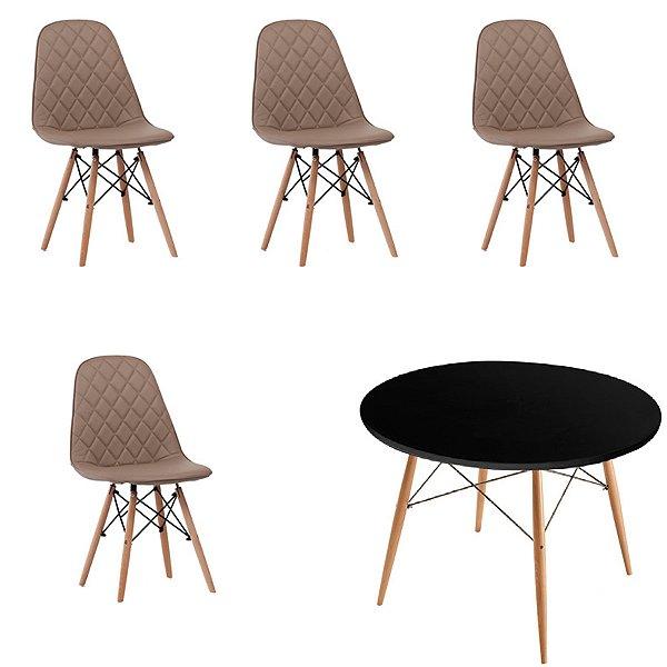 Kit 4x Cadeira Mesa Fratini Design Eames Eiffel DAR Ray Pes Madeira Natural Salas Nice Fendi Preta Assento Polipropileno