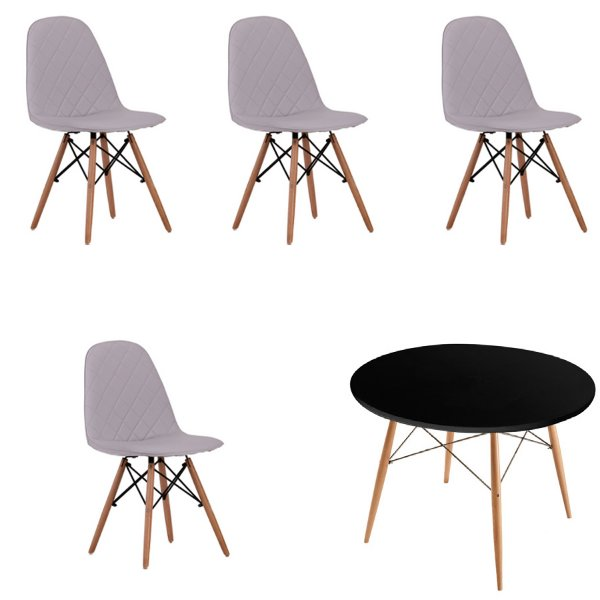 Kit 4x Cadeira Mesa Fratini Design Eames Eiffel DAR Ray Pes Madeira Natural Salas Nice Gelo Preta Assento Polipropileno