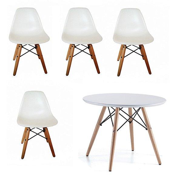 Kit 4x Cadeira Mesa Fratini Kids Infantil Branco Design Eames Eiffel DAR Ray Pes Madeira Natural Florida Assento Polipropileno