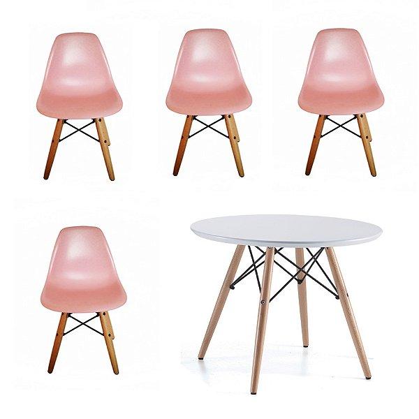 Kit 4x Cadeira Mesa Fratini Kids Infantil Rosa Design Eames Eiffel DAR Ray Pes Madeira Natural Florida Assento Polipropileno
