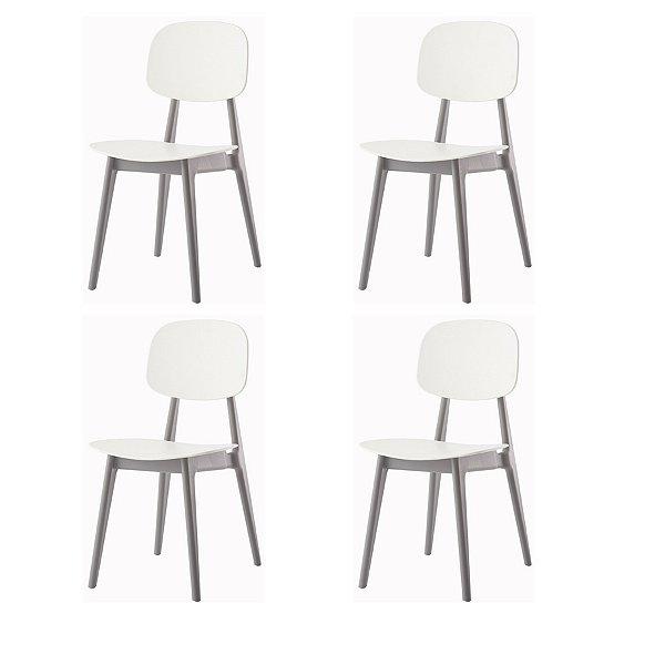 Kit 4x Cadeira Resistente Branco Cinza  Cozinhas Restaurantes Gourmet Varanda Bares Vegas Fratini