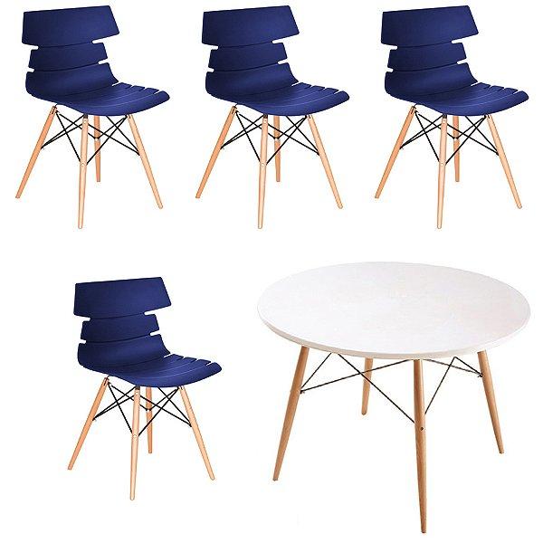 Kit 4x Cadeiras Mesa Fratini Redonda Design Eames Eiffel DAR Ray Pes Madeira Natural Salas Valencia Azul Marinho Branco