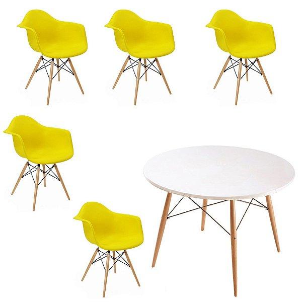 Kit 5x Cadeira Mesa Fratini Design Eames Eiffel DAR Ray Pes Madeira Natural Salas Florida Amarela Branca Braços Polipropileno