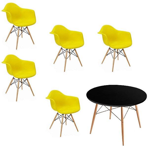 Kit 5x Cadeira Mesa Fratini Design Eames Eiffel DAR Ray Pes Madeira Natural Salas Florida Amarela Preta Braços Polipropileno