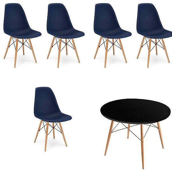 Kit 5x Cadeira Mesa Fratini Design Eames Eiffel DAR Ray Pes Madeira Natural Salas Florida Azul Marinho Preta Assento Polipropileno