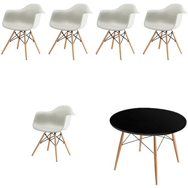 Kit 5x Cadeira Mesa Fratini Design Eames Eiffel DAR Ray Pes Madeira Natural Salas Florida Branca Preta Braços Polipropileno
