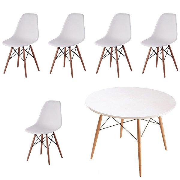 Kit 5x Cadeira Mesa Fratini Design Eames Eiffel DAR Ray Pes Madeira Natural Salas Florida Branco Branca Assento Polipropileno