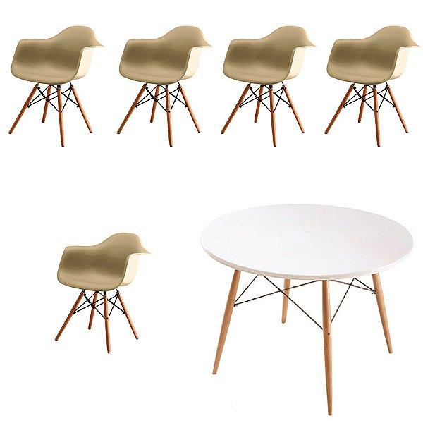 Kit 5x Cadeira Mesa Fratini Design Eames Eiffel DAR Ray Pes Madeira Natural Salas Florida Fendi Branca Braços Polipropileno