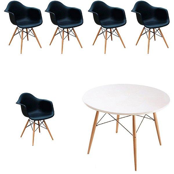 Kit 5x Cadeira Mesa Fratini Design Eames Eiffel DAR Ray Pes Madeira Natural Salas Florida Preto Branca Braços Polipropileno