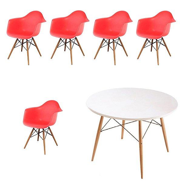 Kit 5x Cadeira Mesa Fratini Design Eames Eiffel DAR Ray Pes Madeira Natural Salas Florida Vermelho Branca Braços Polipropileno