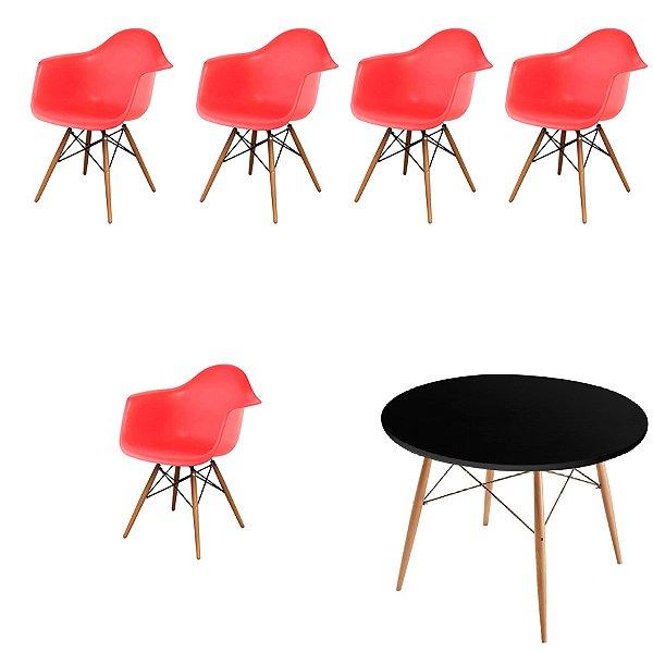 Kit 5x Cadeira Mesa Fratini Design Eames Eiffel DAR Ray Pes Madeira Natural Salas Florida Vermelho Preto Braços Polipropileno