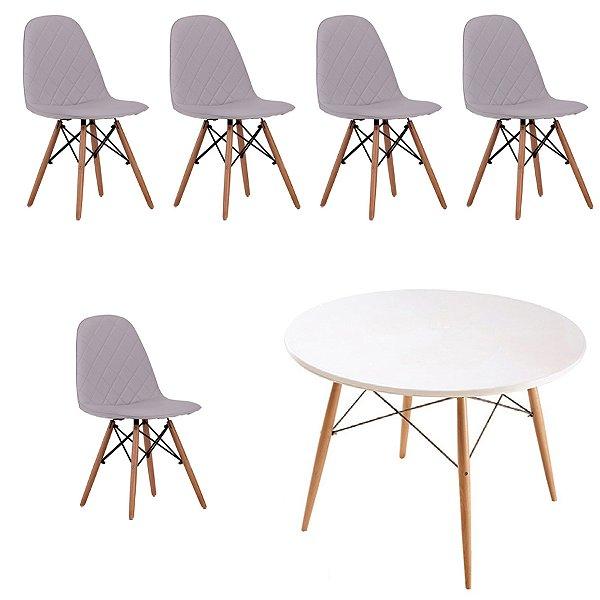 Kit 5x Cadeira Mesa Fratini Design Eames Eiffel DAR Ray Pes Madeira Natural Salas Nice Gelo Branca Assento Polipropileno