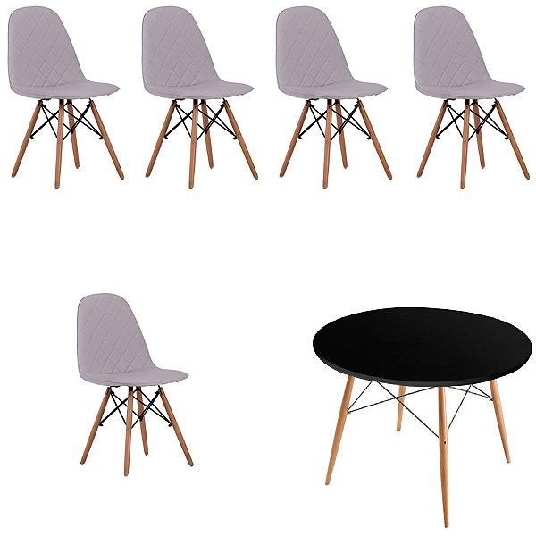 Kit 5x Cadeira Mesa Fratini Design Eames Eiffel DAR Ray Pes Madeira Natural Salas Nice Gelo Preta Assento Polipropileno