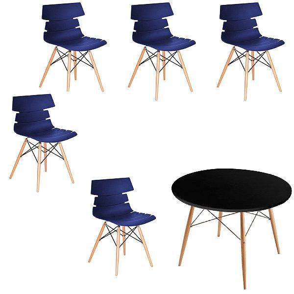 Kit 5x Cadeiras Mesa Fratini Redonda Design Eames Eiffel DAR Ray Pes Madeira Natural Salas Valencia Azul Marinho Branco