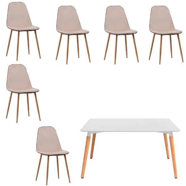 Kit 6 Cadeira Mesa Fratini 6 lugares Design Eames Eiffel DAR Ray Pes Madeira Natural Salas Lyon Bege Branco