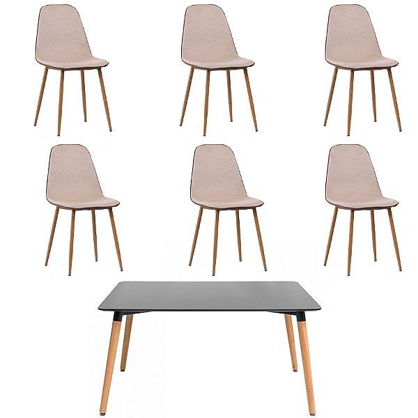 Kit 6 Cadeira Mesa Fratini 6 lugares Design Eames Eiffel DAR Ray Pes Madeira Natural Salas Lyon Bege Preto