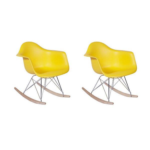 Kit 6x Cadeira Balanço Design Eames Eiffel DAR Ray Salas Florida Amarelo Braços Polipropileno Fratini