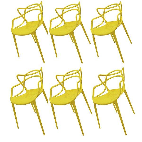 Kit 6x Cadeira Design Alegra Master Philippe Starck Amarela Polipropileno Cozinhas Aviv Fratini