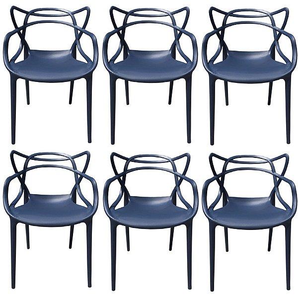Kit 6x Cadeira Design Alegra Master Philippe Starck Azul Marinho Polipropileno Cozinhas Aviv Fratini