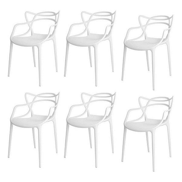 Kit 6x Cadeira Design Alegra Master Philippe Starck Branca Polipropileno Cozinhas Aviv Fratini