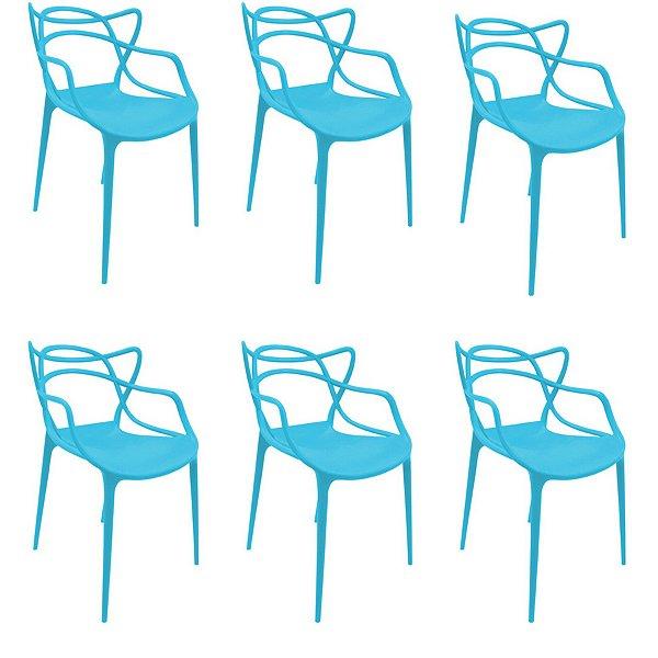 Kit 6x Cadeira Design Alegra Master Philippe Starck New Blue Polipropileno Cozinhas Aviv Fratini