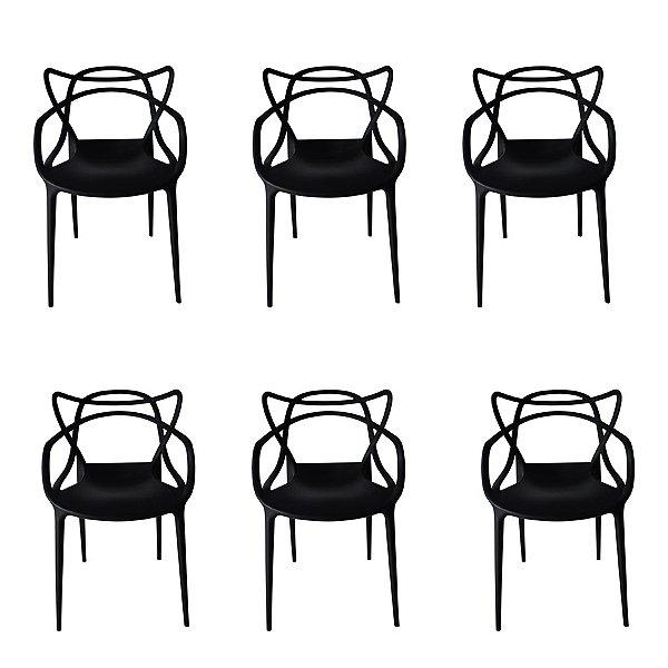 Kit 6x Cadeira Design Alegra Master Philippe Starck Preta Polipropileno Cozinhas Aviv Fratini