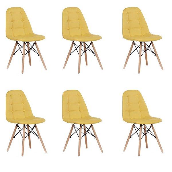 Kit 6x Cadeira Design Botone Eames Eiffel DAR Ray Pes Madeira Salas Madrid Amarelo  Fratini