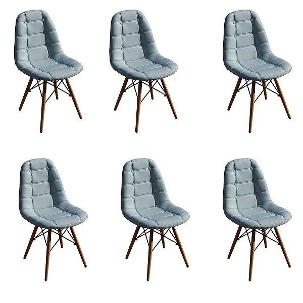 Kit 6x Cadeira Design Botone Eames Eiffel DAR Ray Pes Madeira Salas Madrid Azul Claro  Fratini