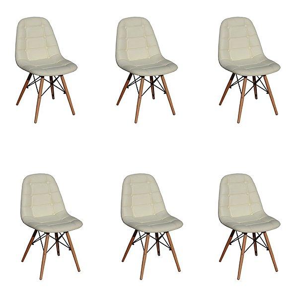Kit 6x Cadeira Design Botone Eames Eiffel DAR Ray Pes Madeira Salas Madrid Bege  Fratini