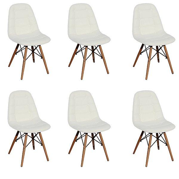 Kit 6x Cadeira Design Botone Eames Eiffel DAR Ray Pes Madeira Salas Madrid Branco  Fratini