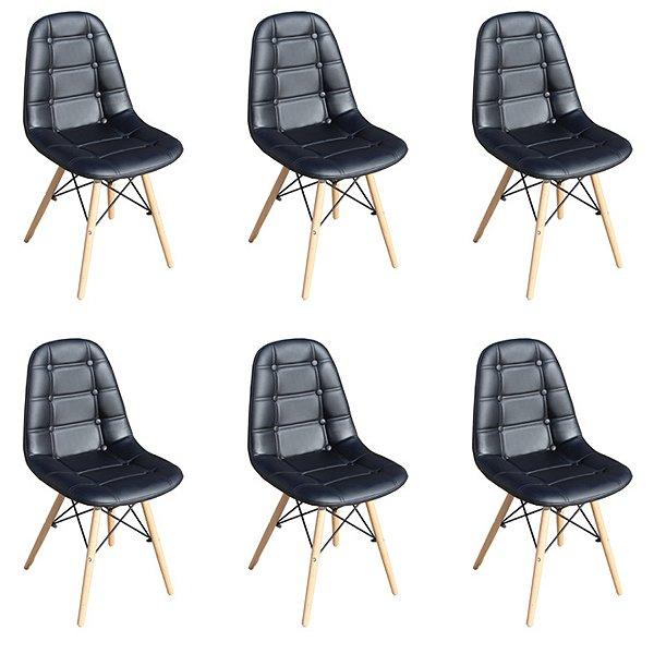 Kit 6x Cadeira Design Botone Eames Eiffel DAR Ray Pes Madeira Salas Madrid Preto  Fratini
