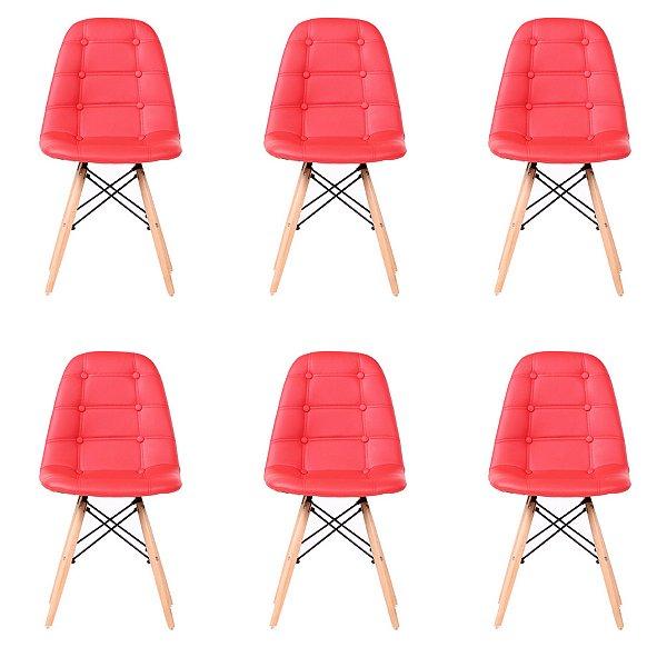 Kit 6x Cadeira Design Botone Eames Eiffel DAR Ray Pes Madeira Salas Madrid Vermelho  Fratini