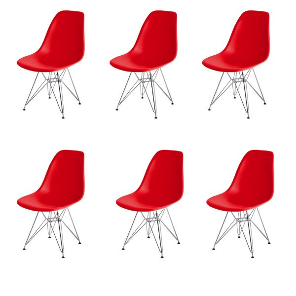 Kit 6x Cadeira Design Eames Eiffel DAR Ray Pes Ferro Salas Florida Vermelha Assento Polipropileno Fratini