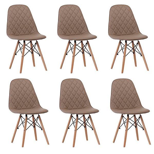 Kit 6x Cadeira Design Eames Eiffel DAR Ray Pes Madeira Salas Fendi Assento Couro Nice Fratini