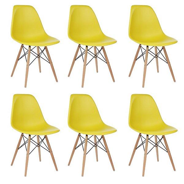 Kit 6x Cadeira Design Eames Eiffel DAR Ray Pes Madeira Salas Florida Amarela Assento Polipropileno Fratini