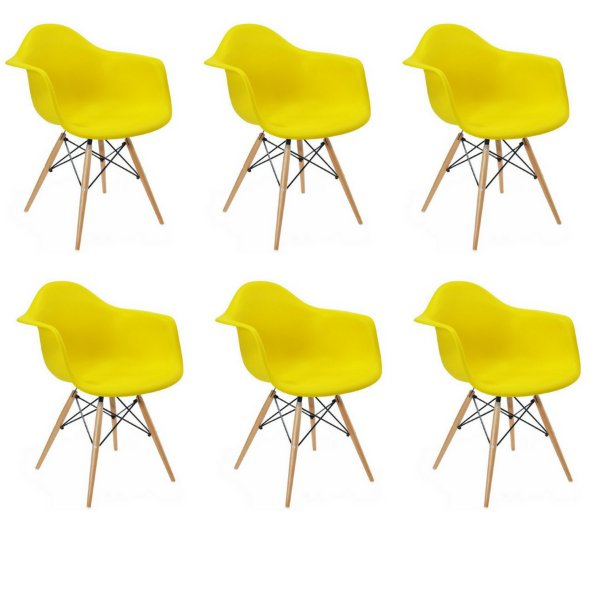 Kit 6x Cadeira Design Eames Eiffel DAR Ray Pes Madeira Salas Florida Amarela Braços Polipropileno Fratini