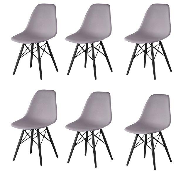 Kit 6x Cadeira Design Eames Eiffel DAR Ray Pes Madeira Salas Florida Cinza Assento Polipropileno Fratini
