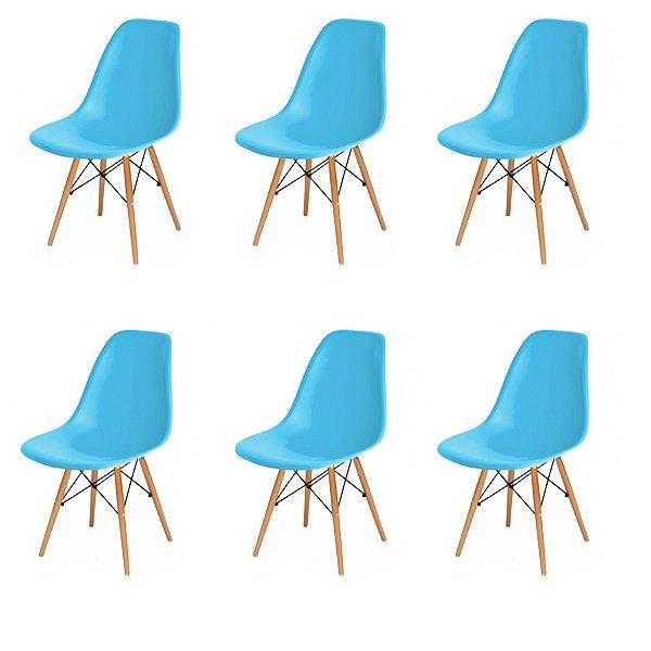 Kit 6x Cadeira Design Eames Eiffel DAR Ray Pes Madeira Salas Florida New Blue Assento Polipropileno Fratini