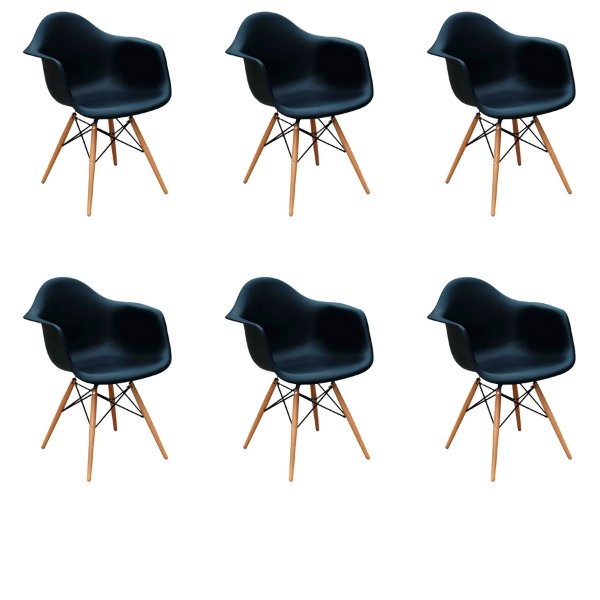 Kit 6x Cadeira Design Eames Eiffel DAR Ray Pes Madeira Salas Florida Preto Braços Polipropileno Fratini