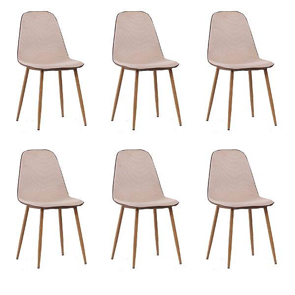 Kit 6x Cadeira Design Eames Eiffel DAR Ray Pes Madeira Salas Lyon Bege Marrom Assento Polipropileno Fratini